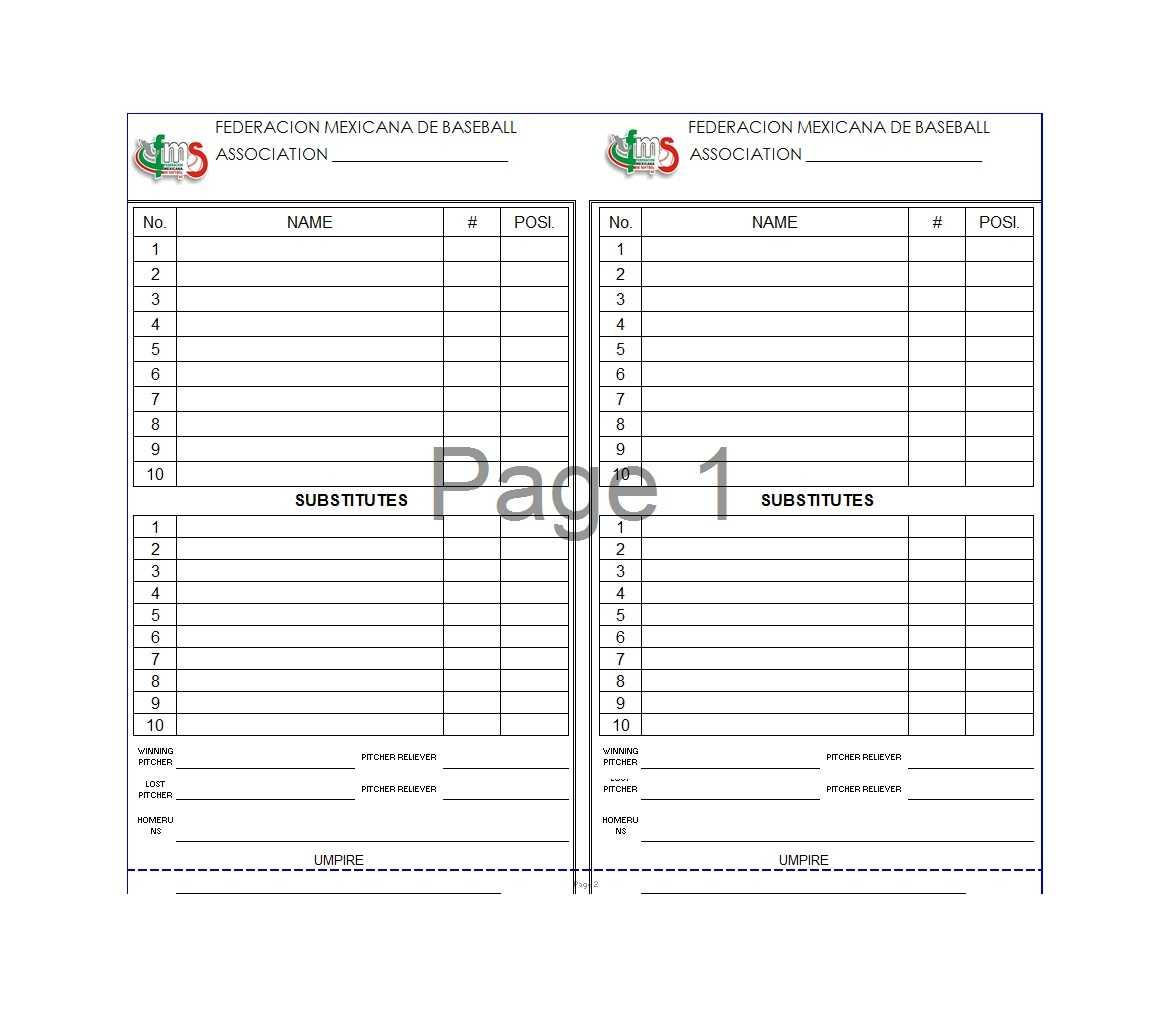 33 Printable Baseball Lineup Templates [Free Download] ᐅ in Free Baseball Lineup Card Template