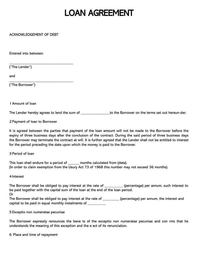 38 Free Loan Agreement Templates & Forms (Word, Pdf) inside Blank Loan Agreement Template