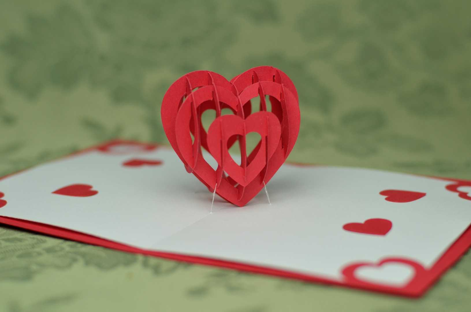 3D Heart Pop Up Card Template With Regard To 3D Heart Pop Up Card Template Pdf
