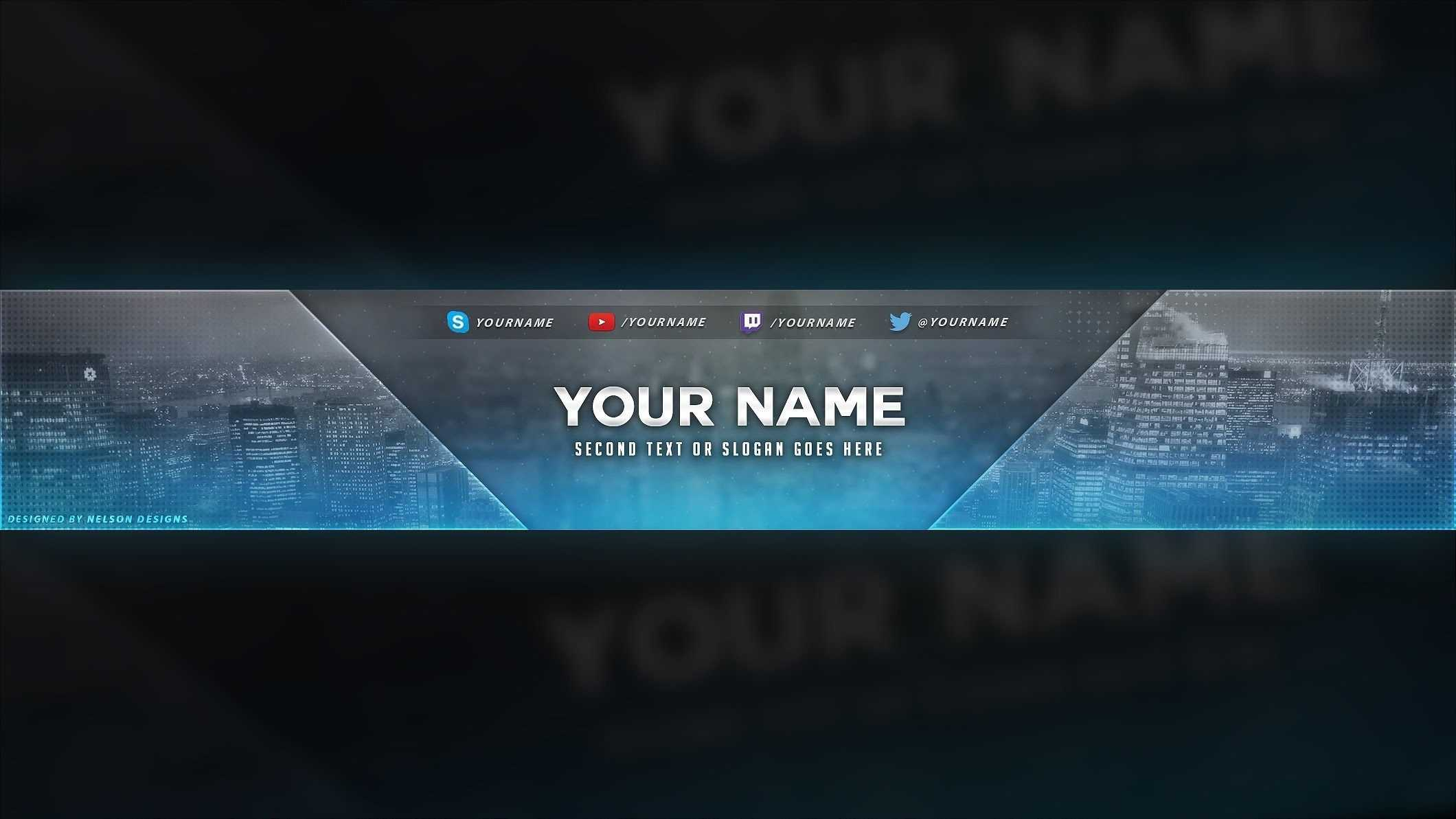 4 Free Youtube Banner Psd Template Designs - Social Media Regarding Youtube Banners Template