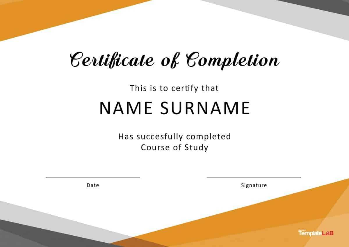 40 Fantastic Certificate Of Completion Templates [Word intended for Graduation Certificate Template Word