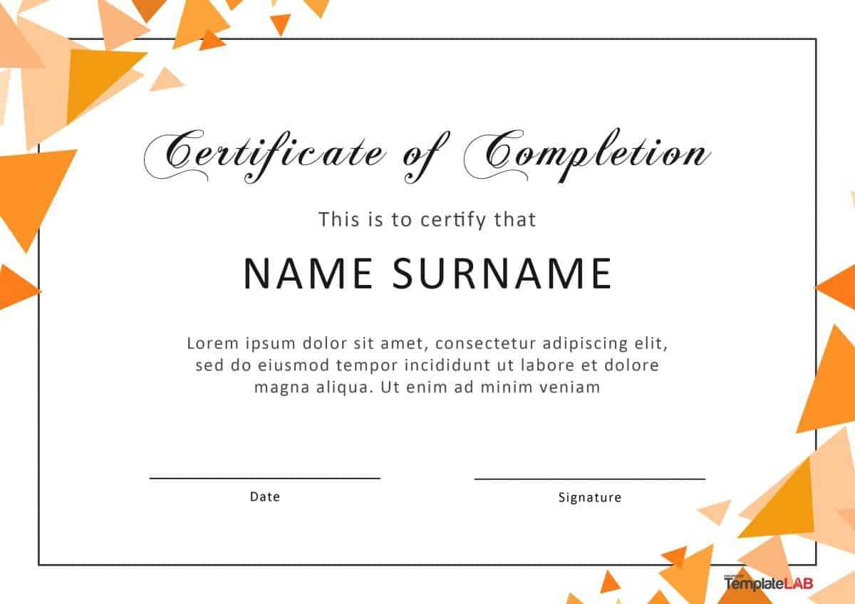 40 Fantastic Certificate Of Completion Templates [Word throughout Graduation Certificate Template Word