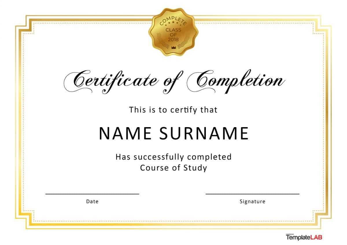 40 Fantastic Certificate Of Completion Templates [Word With Certificate Of Completion Template Word