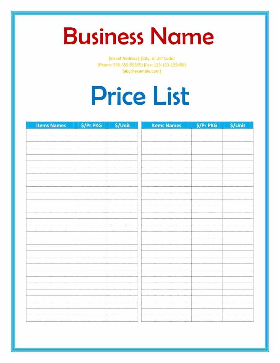 40 Free Price List Templates (Price Sheet Templates) ᐅ inside Rate Card Template Word