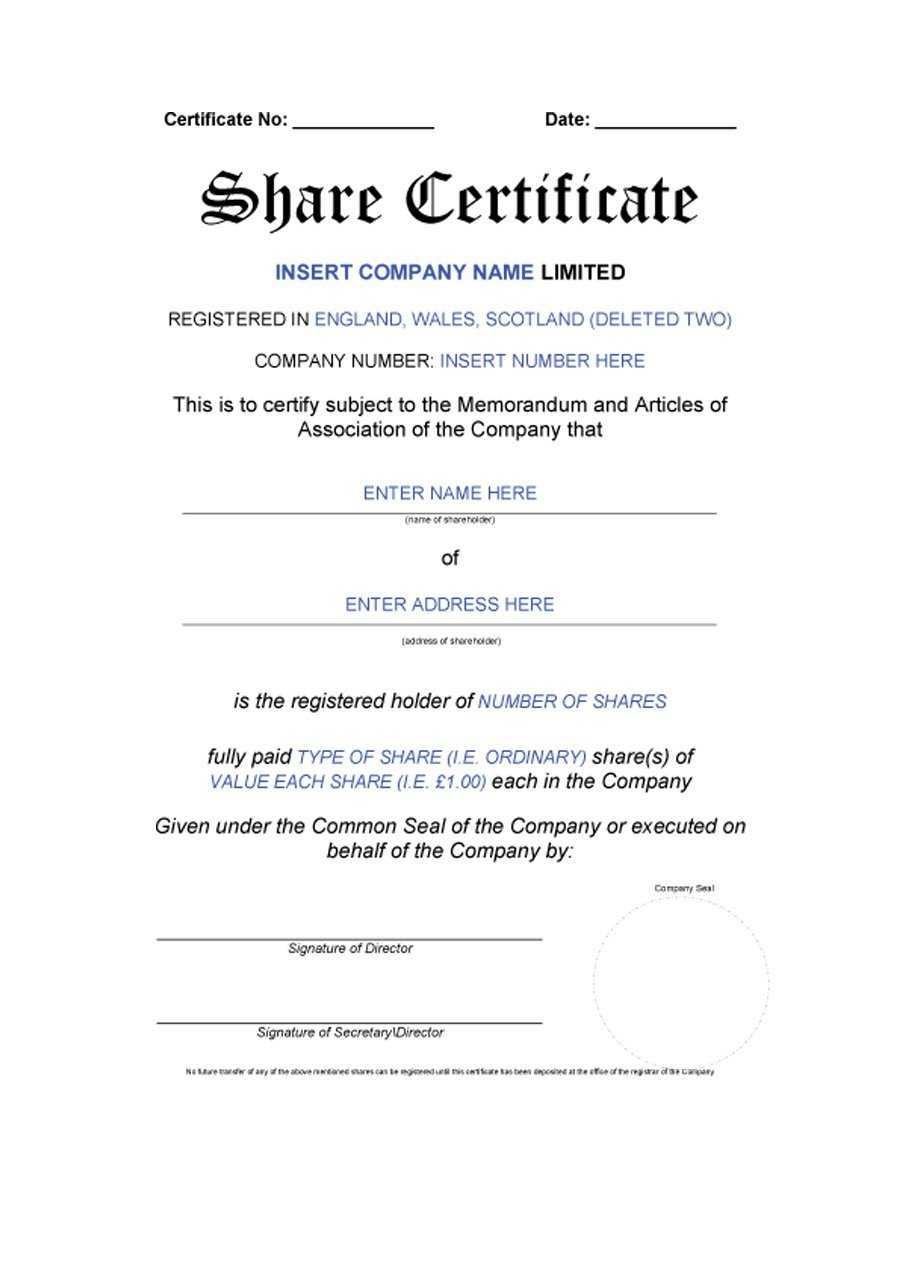 40+ Free Stock Certificate Templates (Word, Pdf) ᐅ Template Lab for Template For Share Certificate