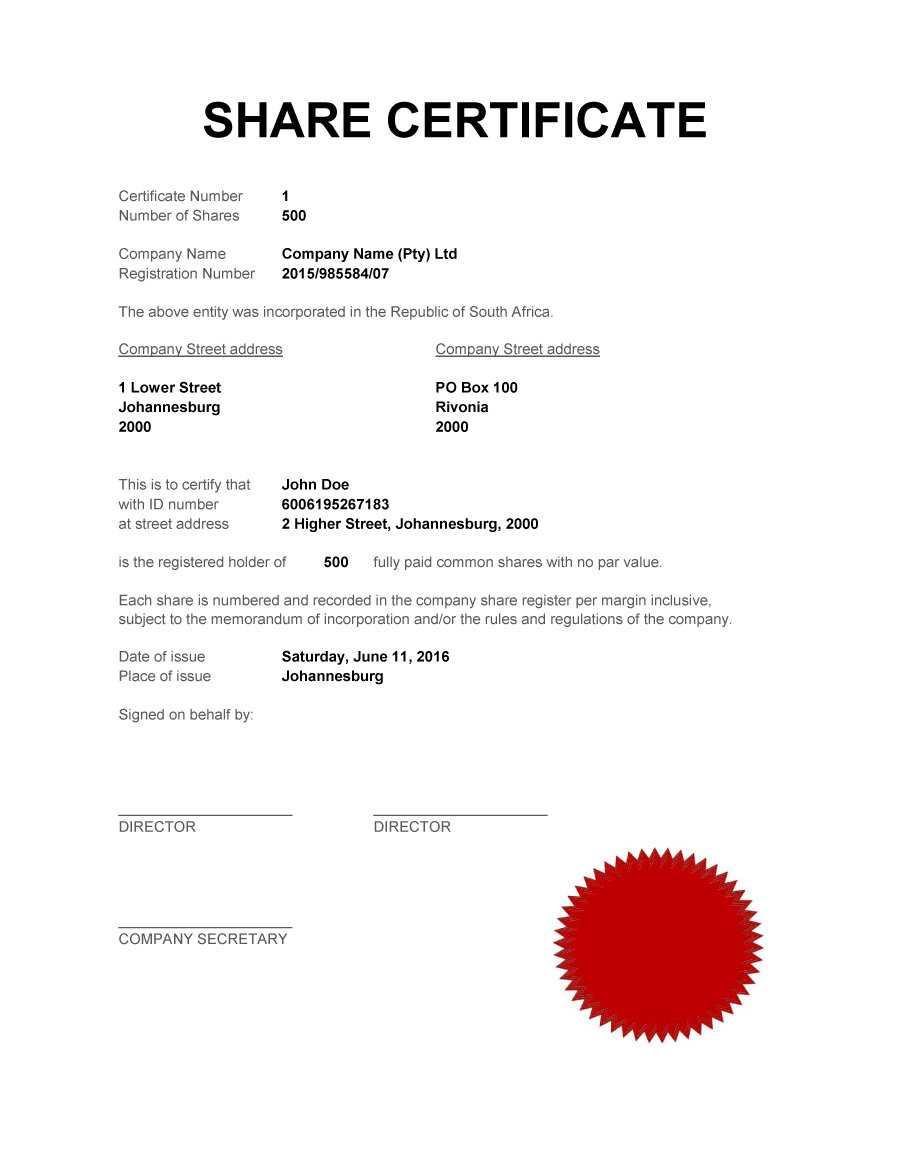 40+ Free Stock Certificate Templates (Word, Pdf) ᐅ Template Lab in Template For Share Certificate