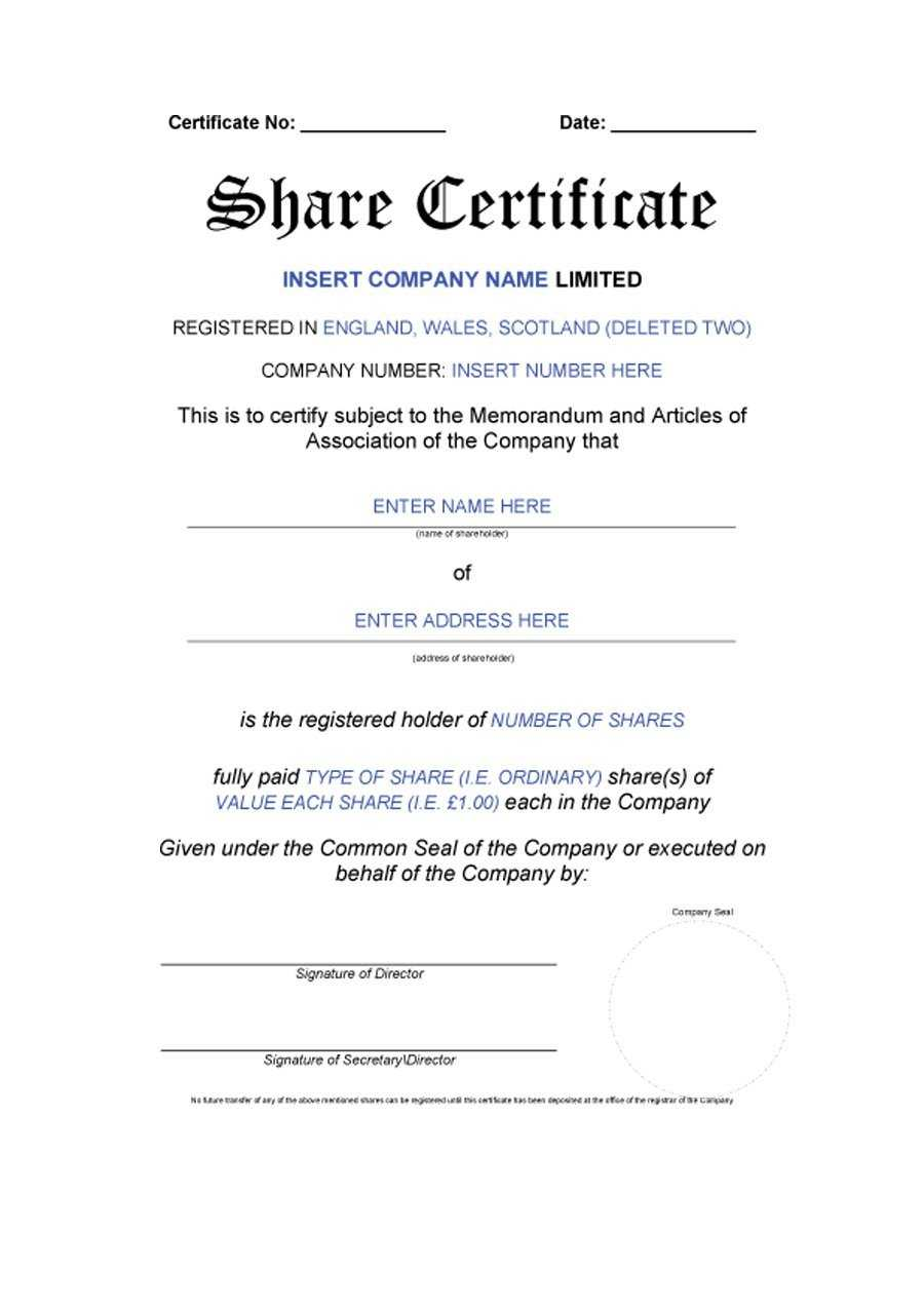 40+ Free Stock Certificate Templates (Word, Pdf) ᐅ Template Lab regarding Blank Share Certificate Template Free
