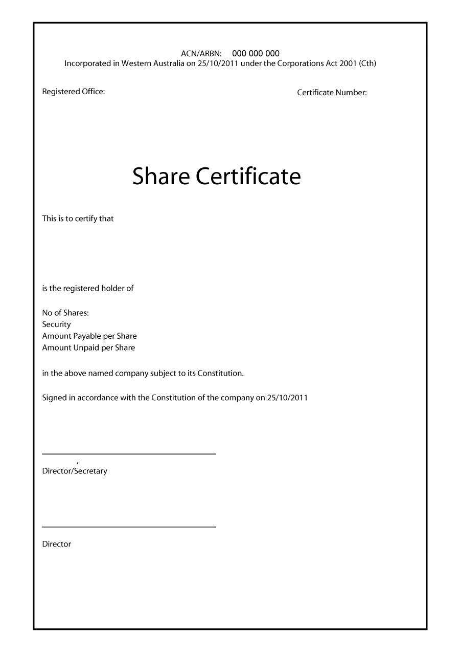 40+ Free Stock Certificate Templates (Word, Pdf) ᐅ Template Lab with regard to Blank Share Certificate Template Free