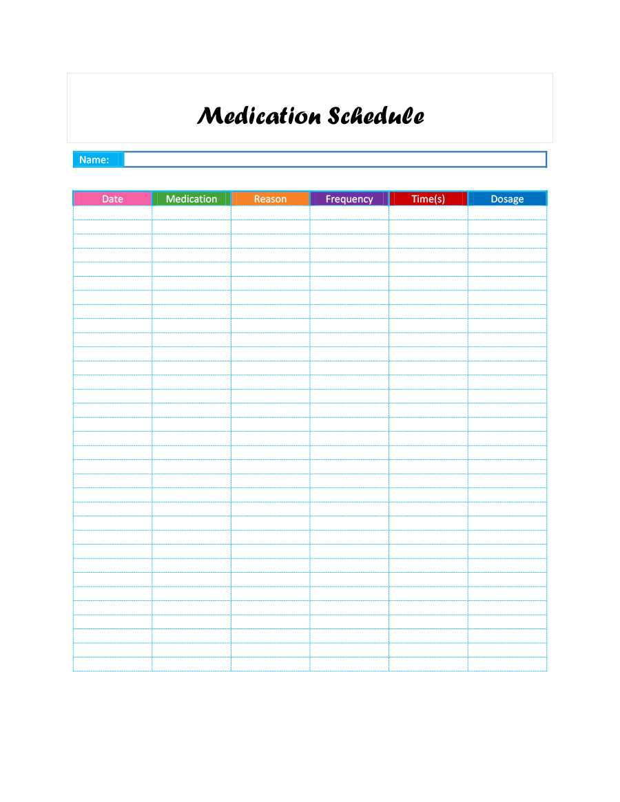 40 Great Medication Schedule Templates (+Medication Calendars) intended for Blank Medication List Templates