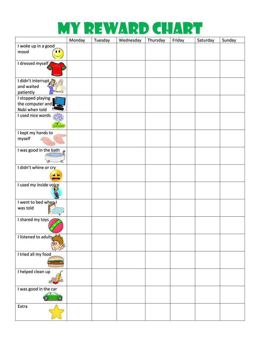 40 Printable Reward Charts For Kids (Pdf, Excel & Word) intended for Blank Reward Chart Template