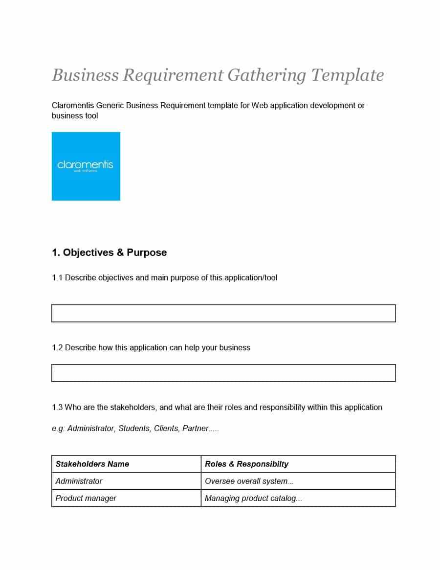 40+ Simple Business Requirements Document Templates ᐅ For Product Requirements Document Template Word