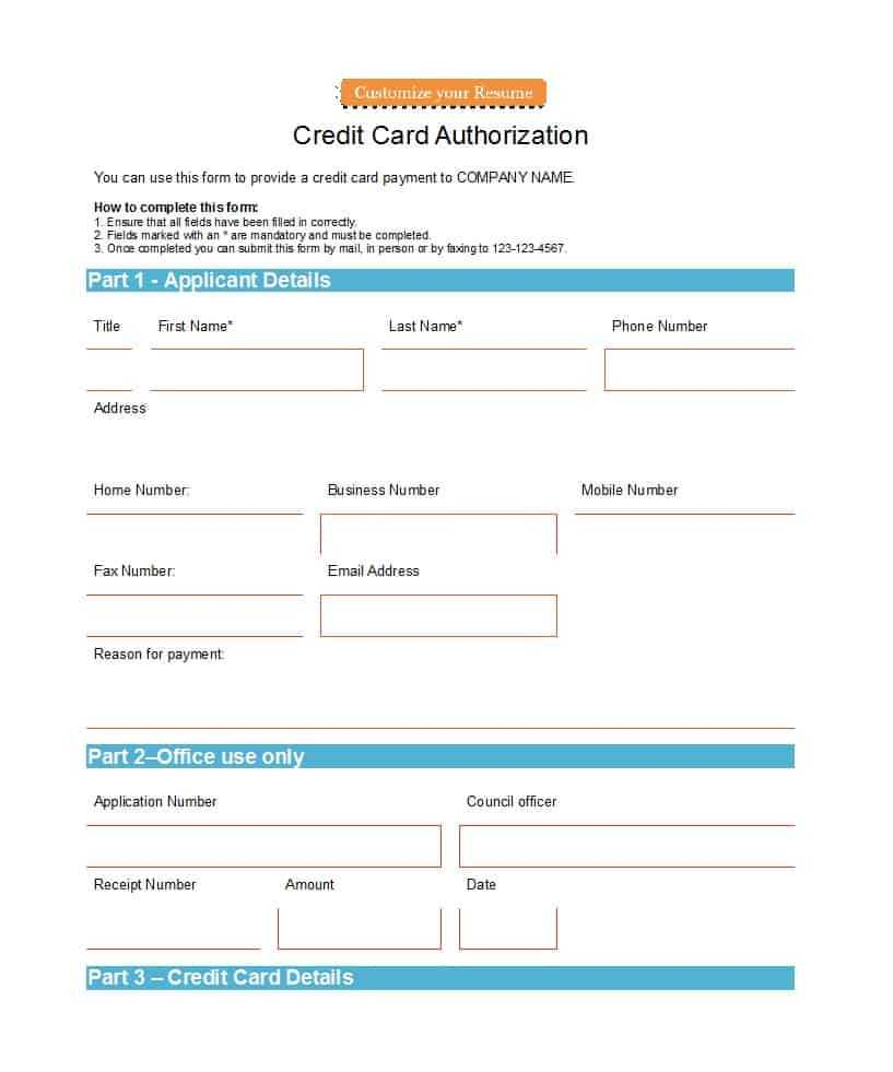 41 Credit Card Authorization Forms Templates {Ready To Use} Intended For Credit Card Authorisation Form Template Australia