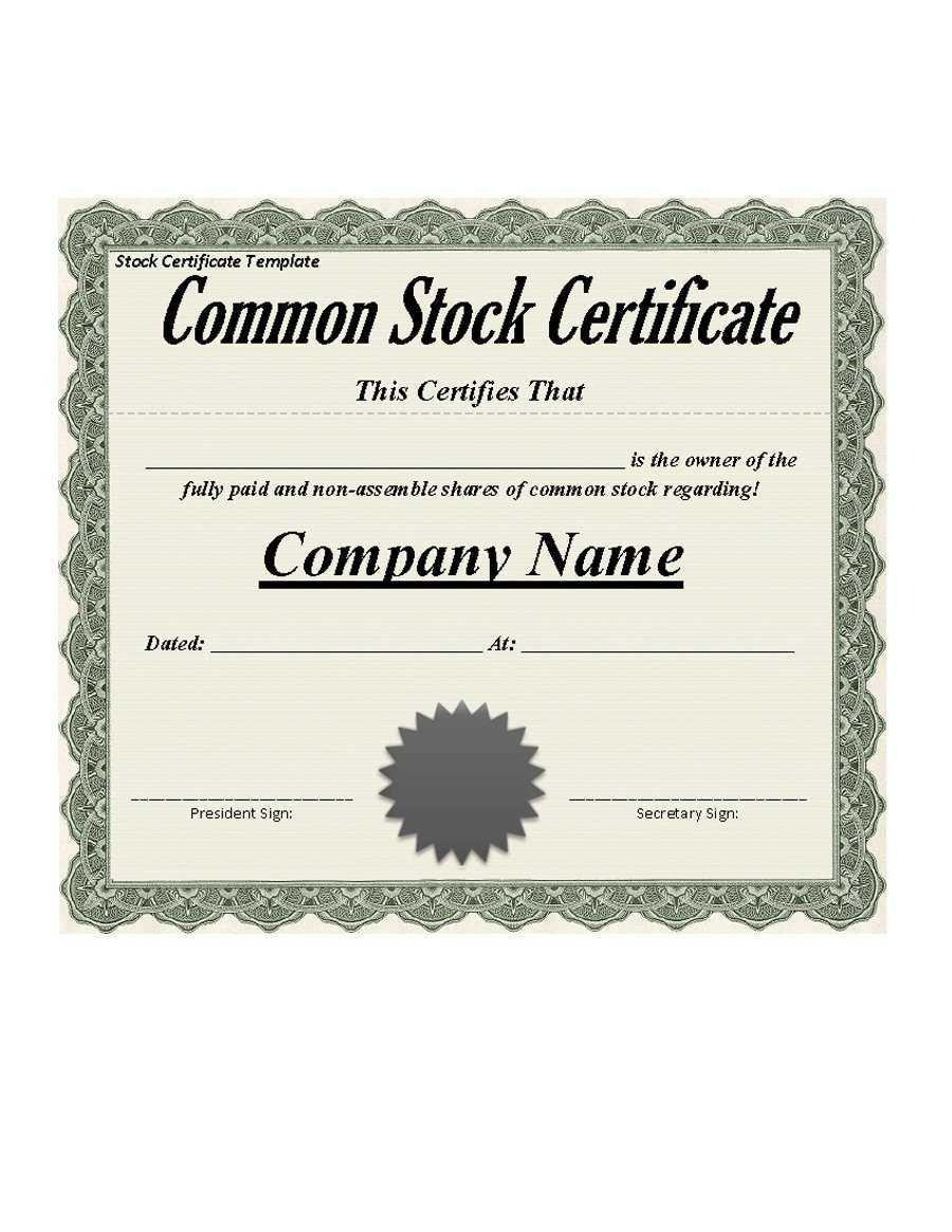 41 Free Stock Certificate Templates (Word, Pdf) – Free Regarding Stock Certificate Template Word