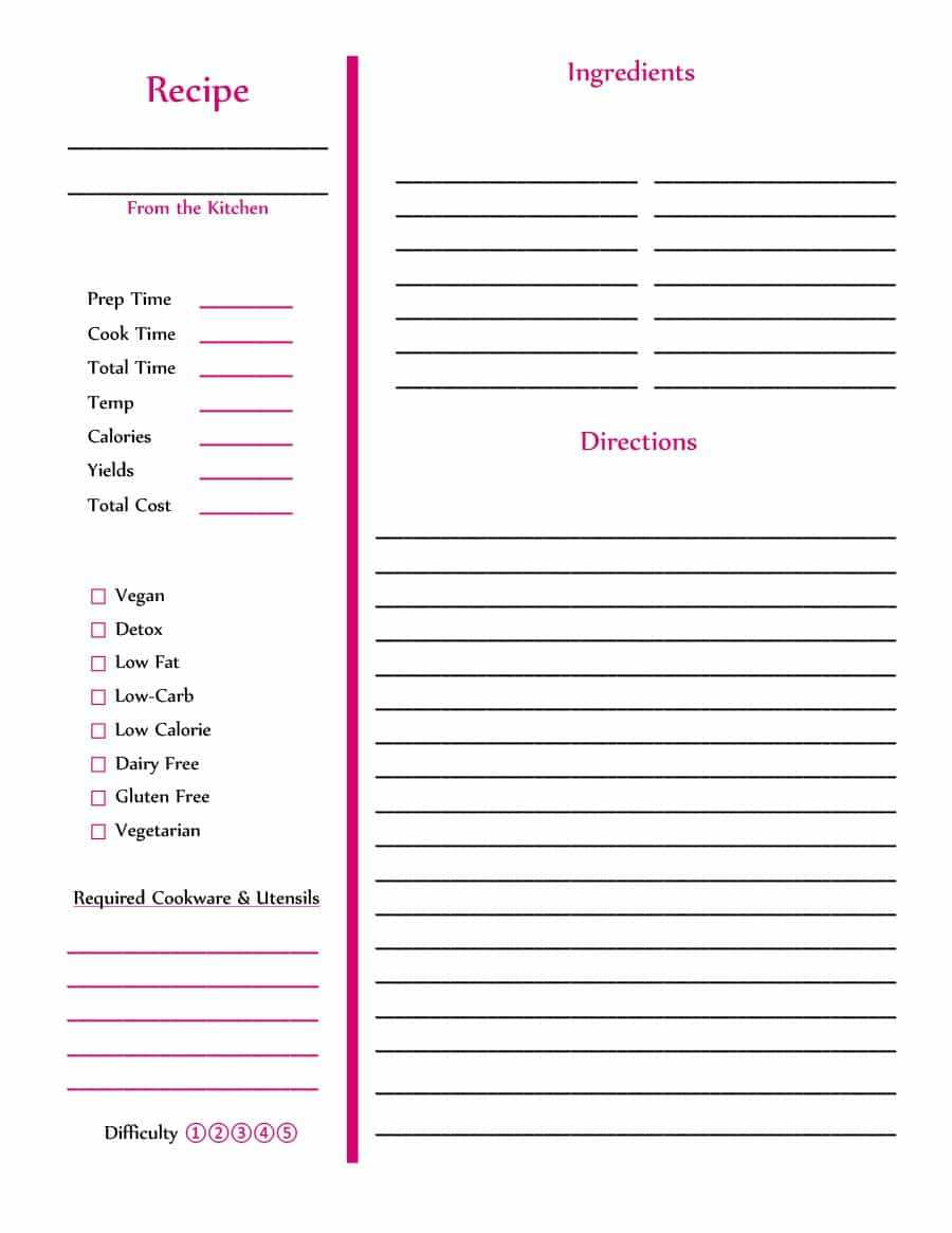 44 Perfect Cookbook Templates [+Recipe Book & Recipe Cards] With Regard To Full Page Recipe Template For Word
