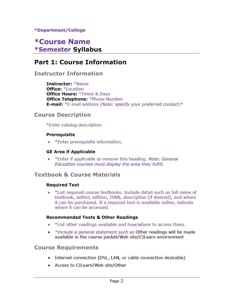 47 Editable Syllabus Templates (Course Syllabus) ᐅ Template Lab Pertaining To Blank Syllabus Template