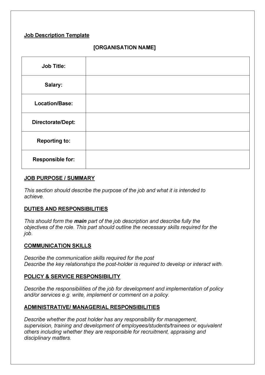 47 Job Description Templates & Examples ᐅ Template Lab With Regard To Job Descriptions Template Word