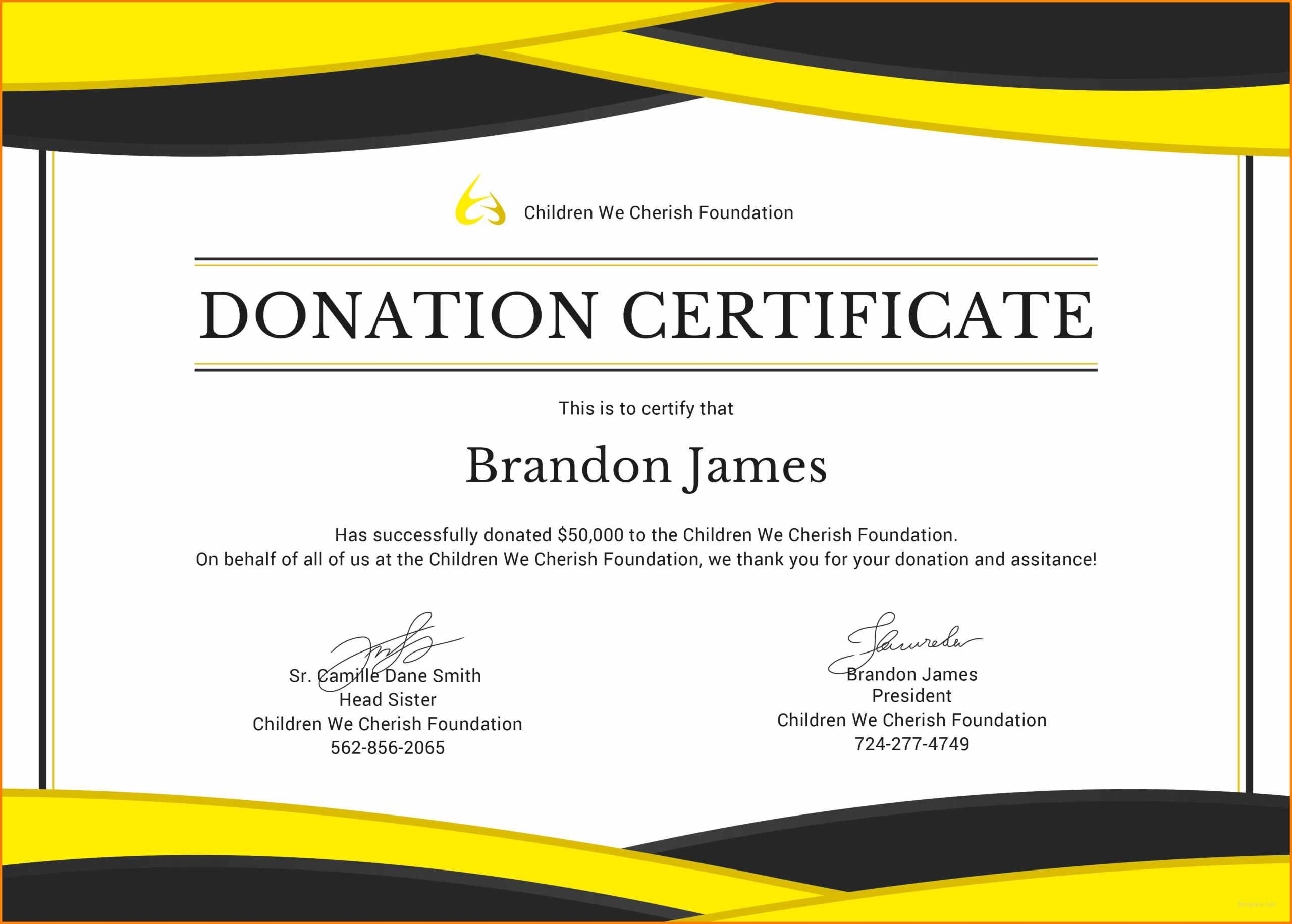 5+ Donation Certificate Template   Instinctual Intelligence With Regard To Donation Certificate Template