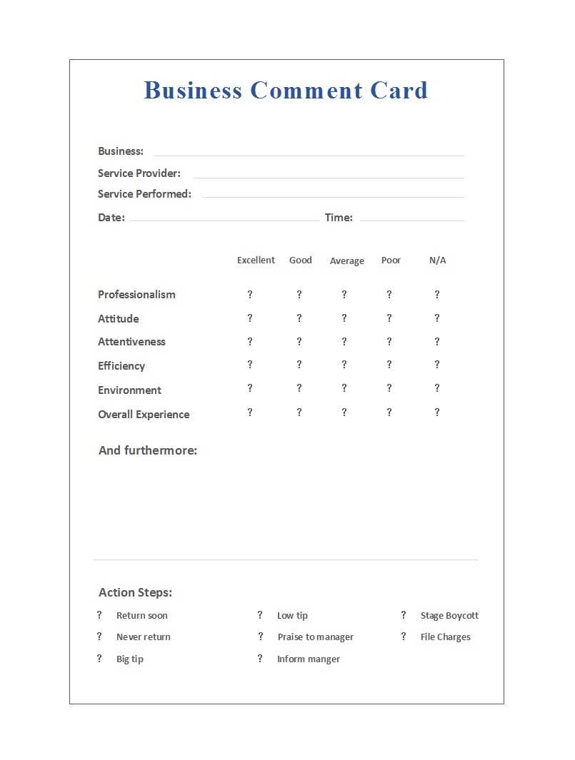 50 Printable Comment Card & Feedback Form Templates ᐅ with regard to Restaurant Comment Card Template