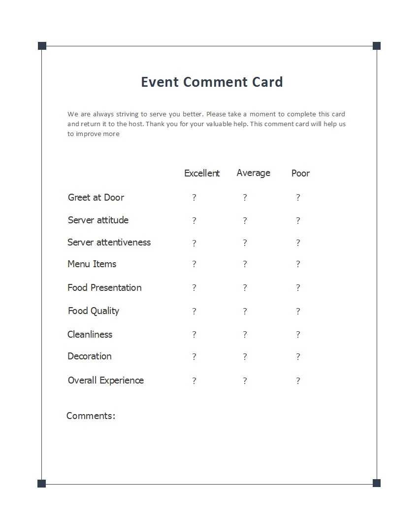 50 Printable Comment Card & Feedback Form Templates ᐅ with Restaurant Comment Card Template