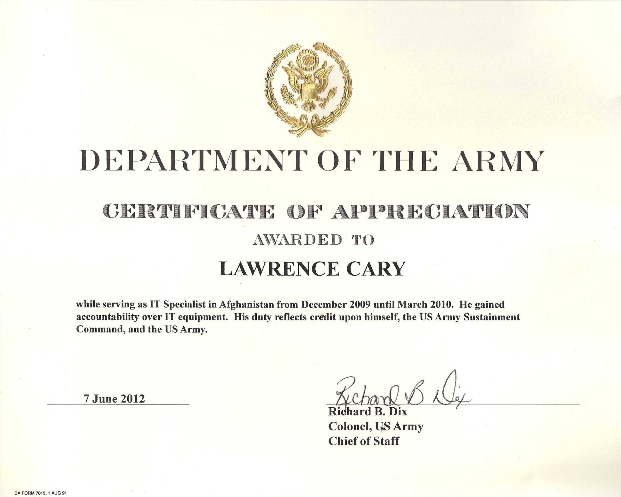 6+ Army Appreciation Certificate Templates - Pdf, Docx Pertaining To Army Certificate Of Achievement Template