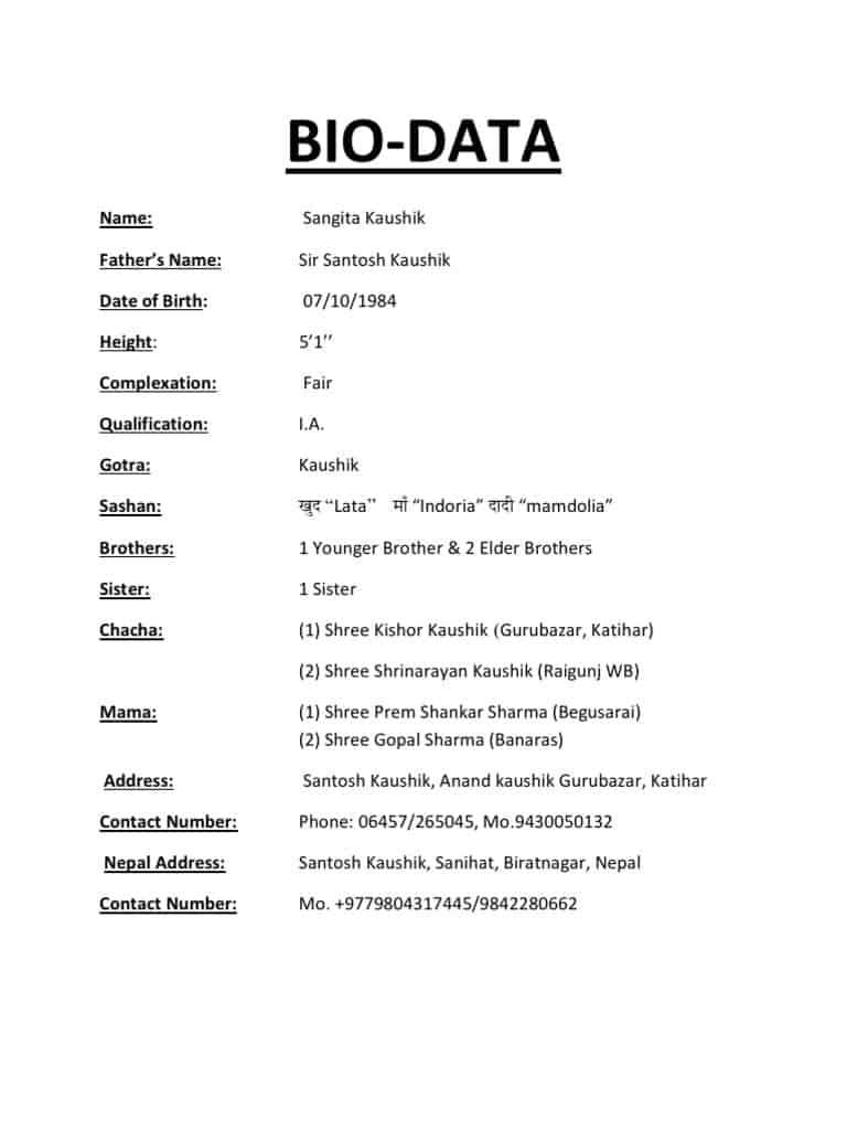 6+ Bio Data Forms – Word Templates for Free Bio Template Fill In Blank