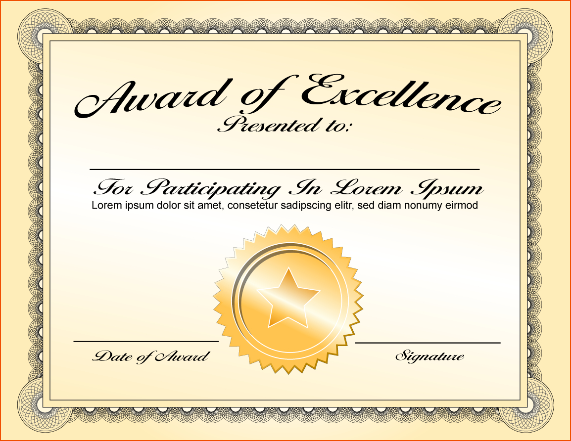 6+ Certificate Award Template - Bookletemplate Regarding Template For Certificate Of Award
