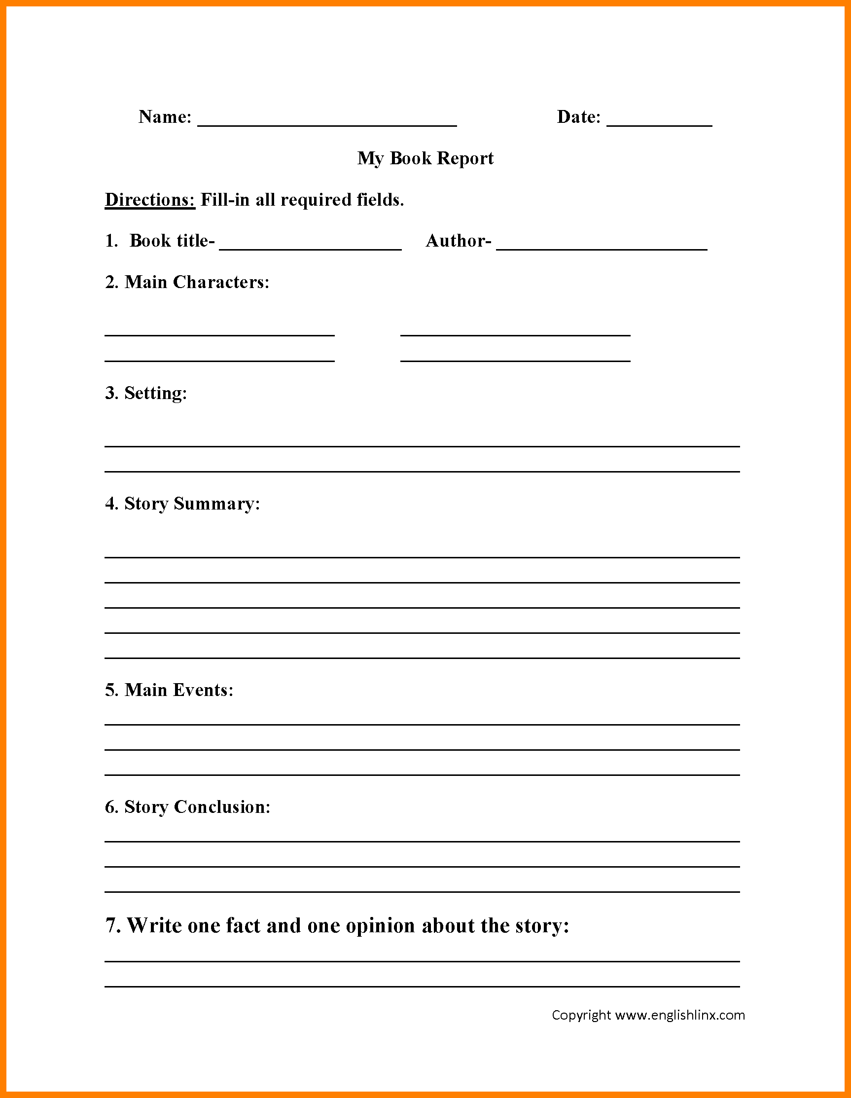 6+ Grade 2 Book Report Template | Management On Call In Story Skeleton Book Report Template