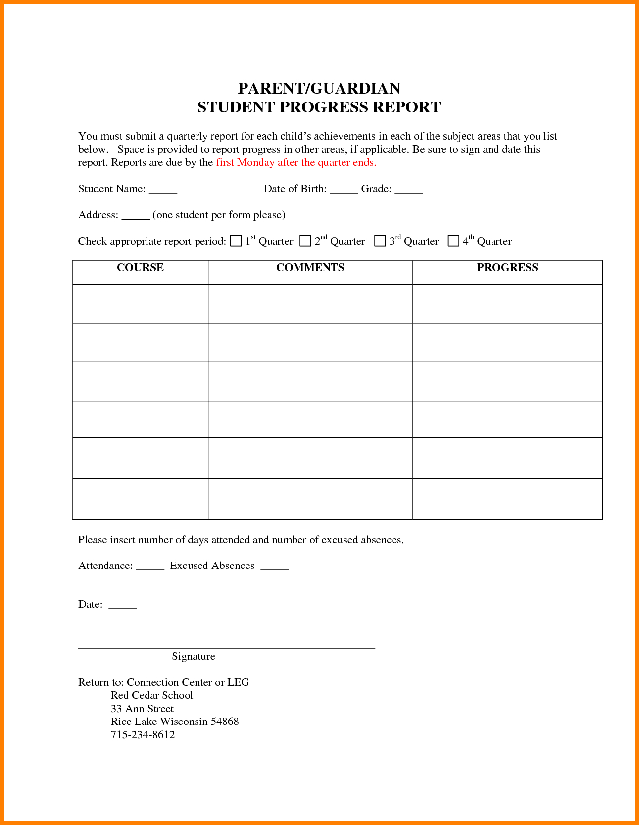 6+ Students Progress Report Template | Phoenix Officeaz with Educational Progress Report Template