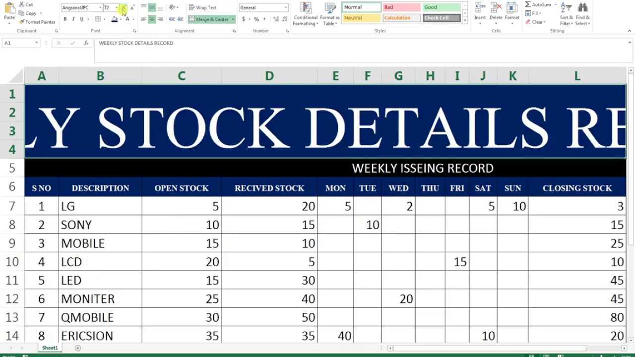 #68 How To Make Maintain Stocks Report In Ms Excel regarding Stock Report Template Excel