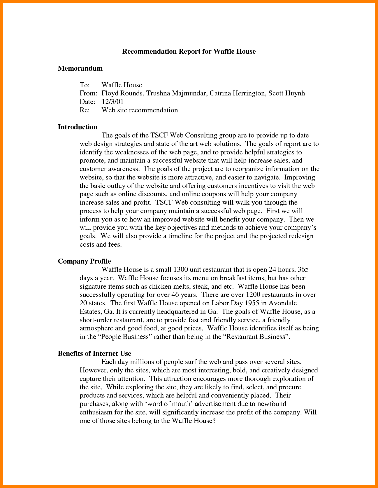 7+ Recommendation Report Example | Letter Adress Within Recommendation Report Template