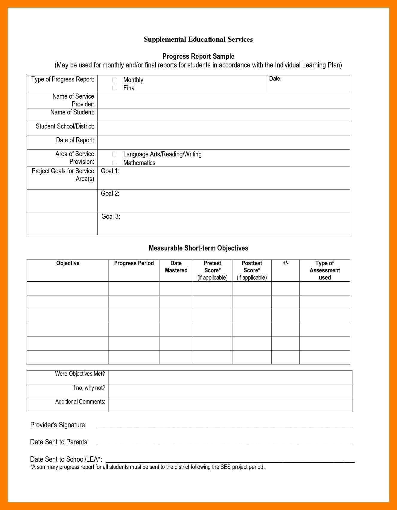 7+ Student Progress Report Sample | Phoenix Officeaz pertaining to Educational Progress Report Template