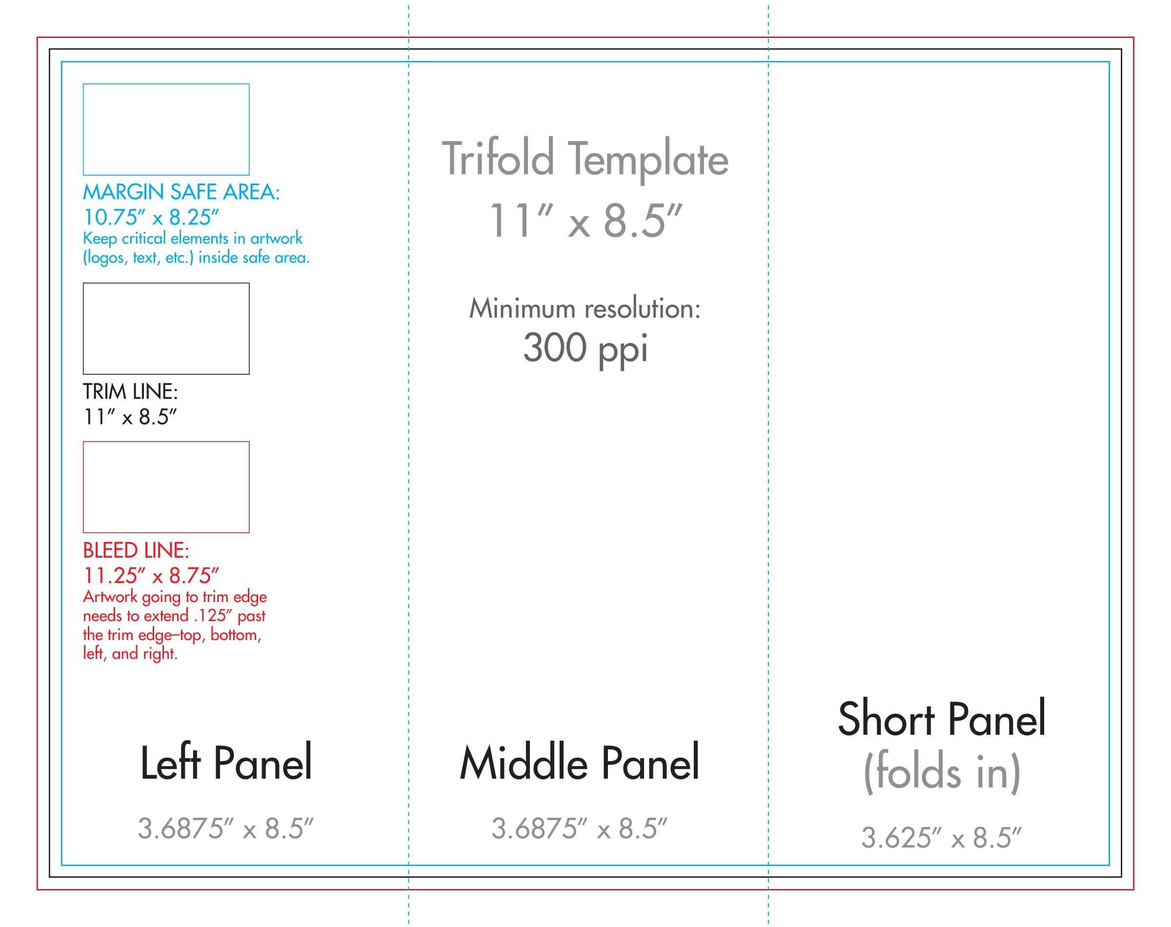 "8.5"" X 11"" Tri Fold Brochure Template - U.s. Press For 8.5 X11 Brochure Template"