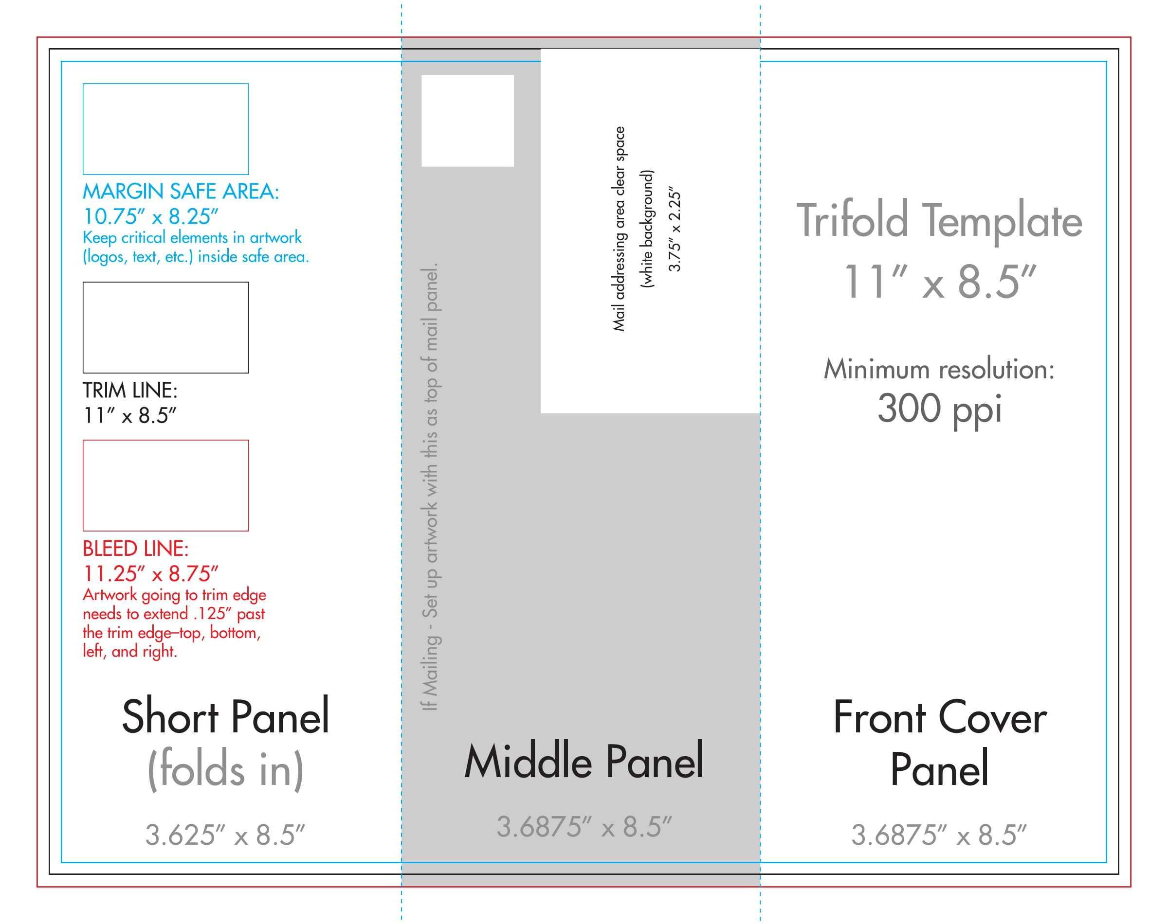 "8.5"" X 11"" Tri Fold Brochure Template - U.s. Press Within 8.5 X11 Brochure Template"