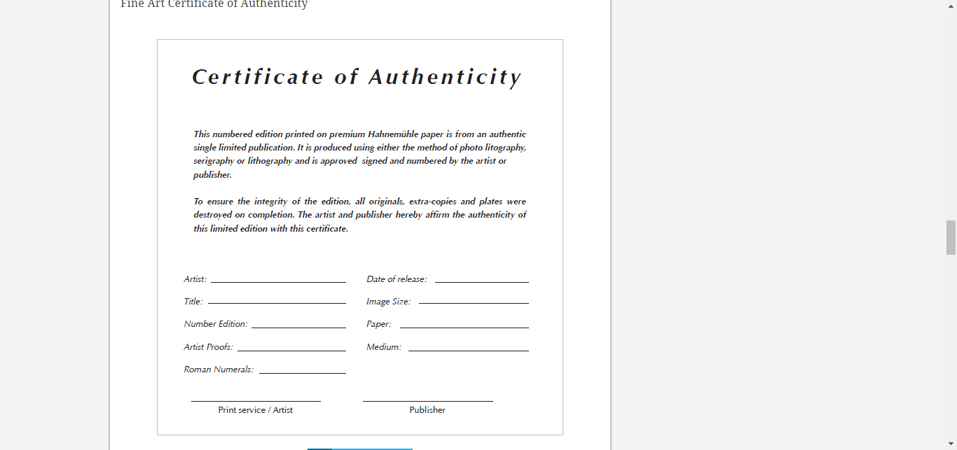 8 Certificate Of Authenticity Templates – Free Samples For Art Certificate Template Free
