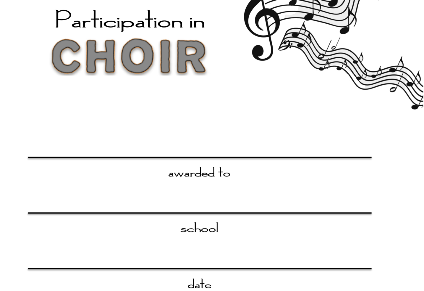 8+ Free Choir Certificate Of Participation Templates - Pdf In Choir Certificate Template