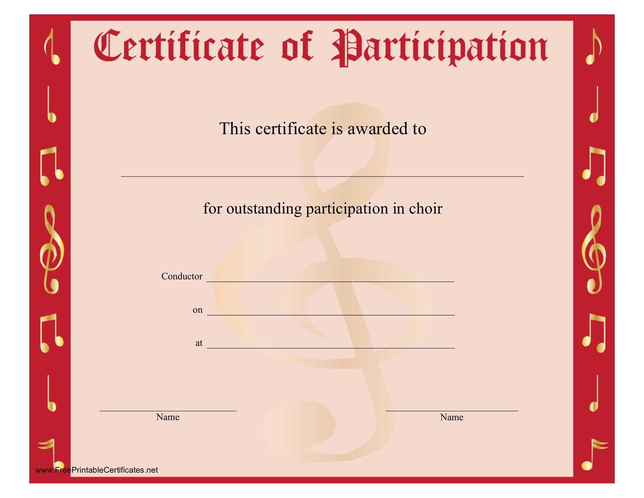 8+ Free Choir Certificate Of Participation Templates – Pdf Inside Choir Certificate Template