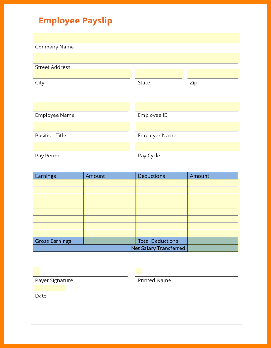 8+ Free Payslip Template Download | Shrewd-Investment throughout Blank Payslip Template