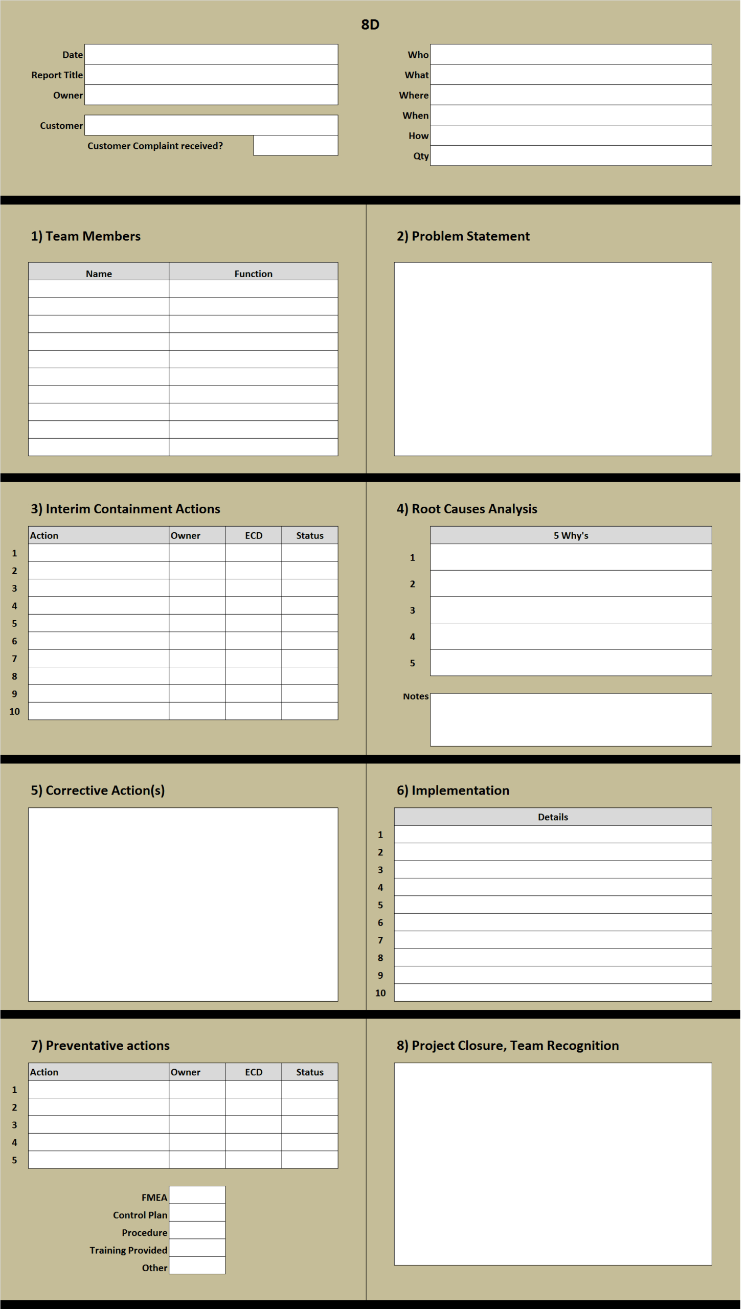 8D Excel Template Learn How To Create An 8D Problem Solving throughout 8D Report Format Template