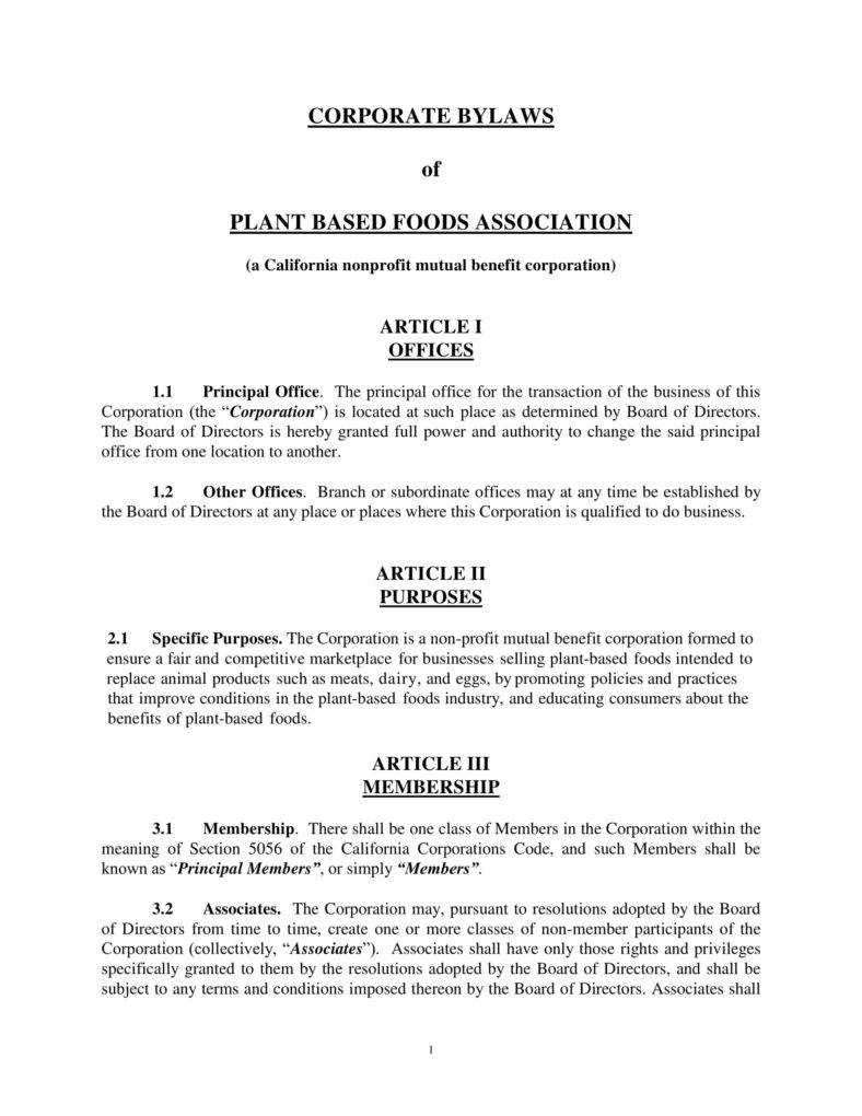 9+ Corporate Bylaws Templates - Pdf | Free & Premium Templates for Corporate Bylaws Template Word