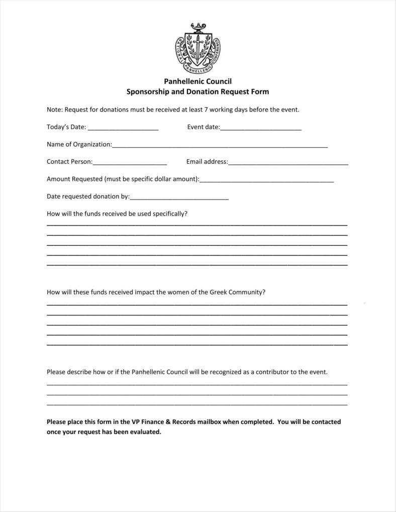 9+ Donation Application Form Templates Free Pdf Format pertaining to Blank Sponsorship Form Template