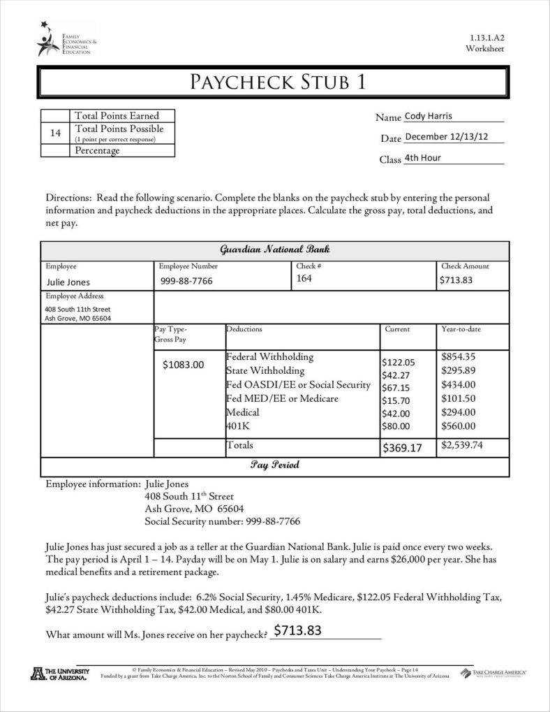 9+ Free Pay Stub Templates Word, Pdf, Excel Format Download regarding Free Pay Stub Template Word