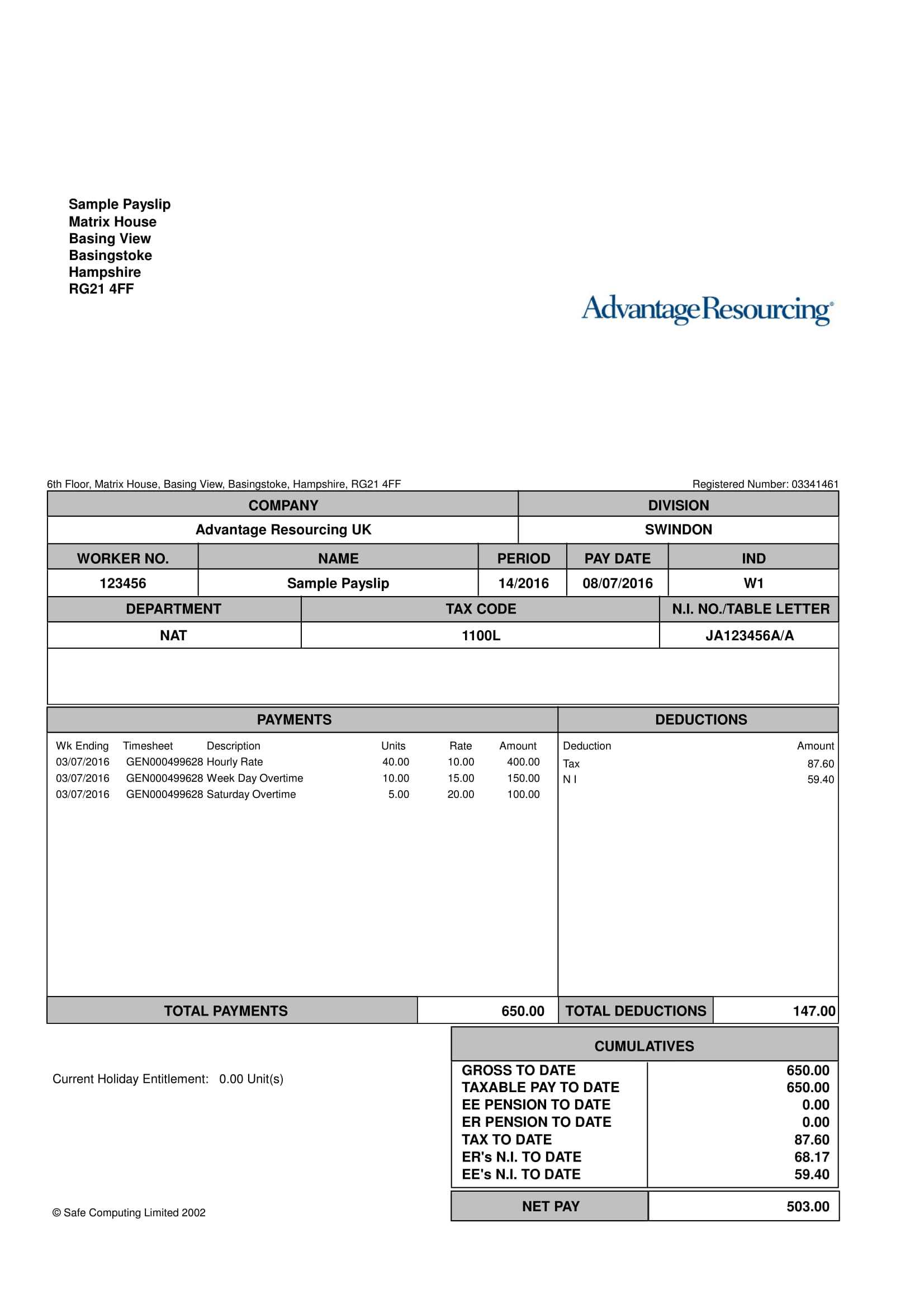 9+ Payslip Templates And Examples - Pdf, Doc | Examples regarding Blank Payslip Template