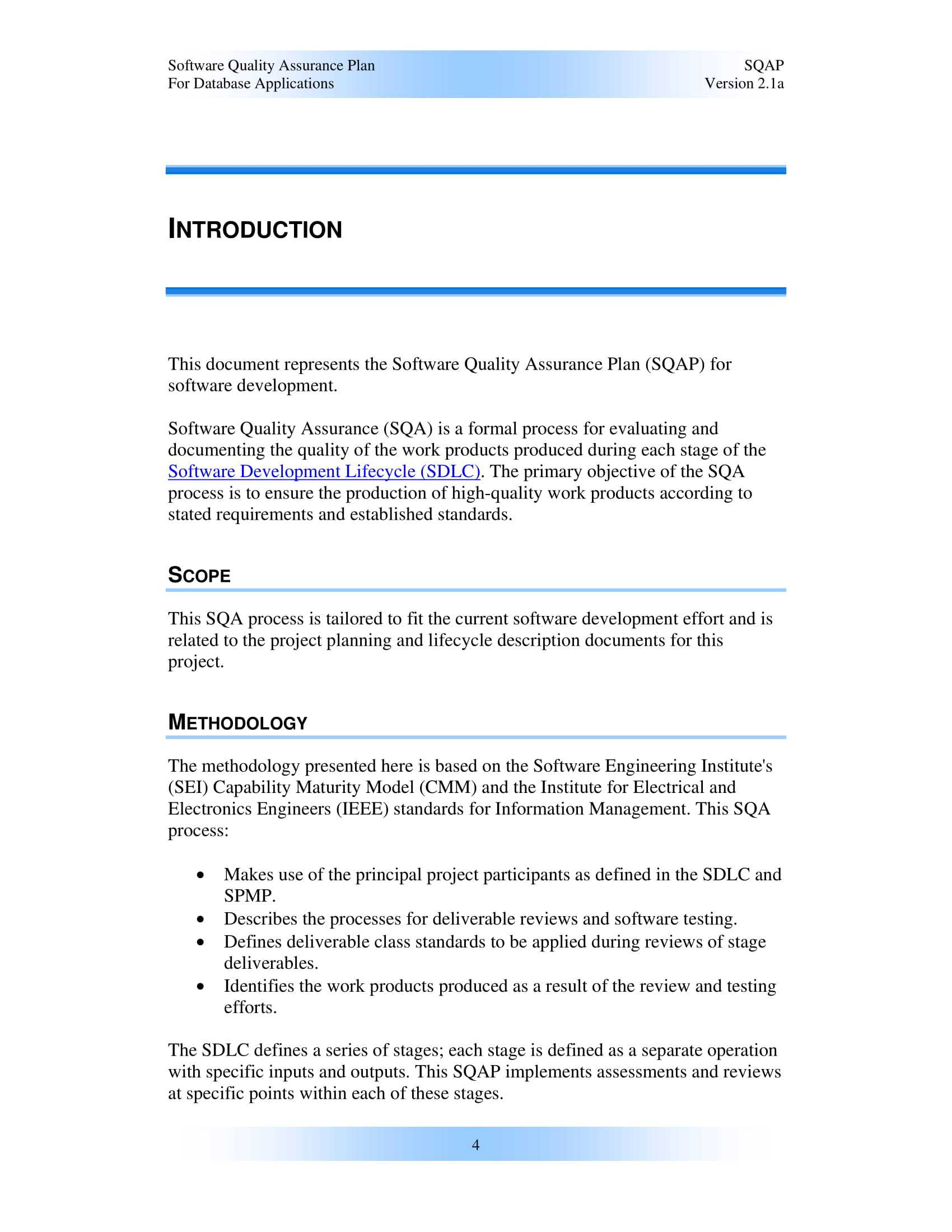9+ Software Quality Assurance Plan Examples - Pdf | Examples Regarding Software Quality Assurance Report Template