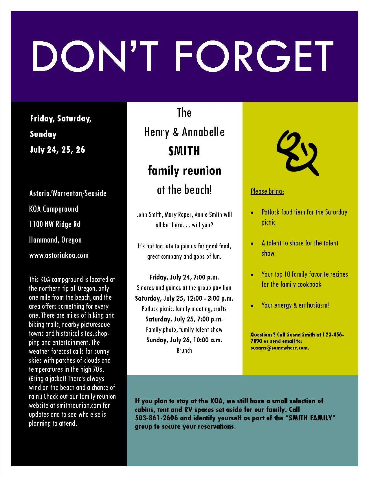 A Sample Invitation For The Family Reunion Intended For Reunion Invitation Card Templates