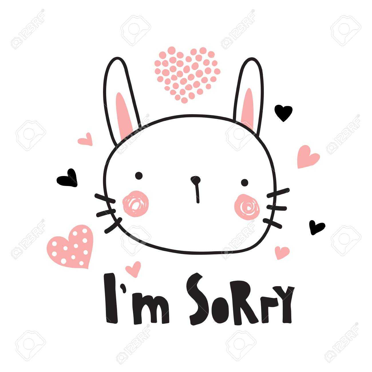 A Vector Template Of A Greeting Card, I'm Sorry Text And Cute.. For Sorry Card Template