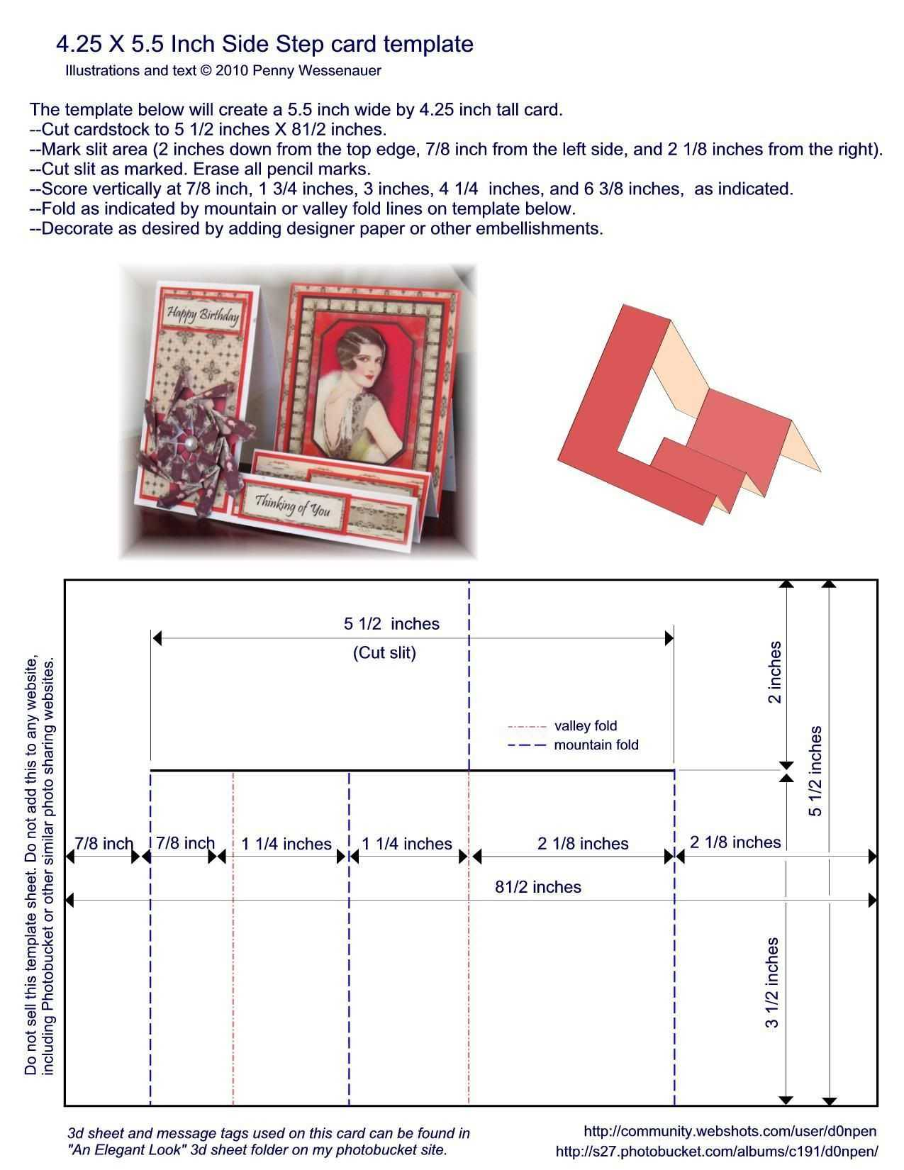 A2 (4.25 X 5.5) Side Step Card Template   Patterns For Card For A2 Card Template