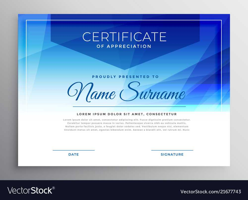 Abstract Blue Award Certificate Design Template Inside Award Certificate Design Template