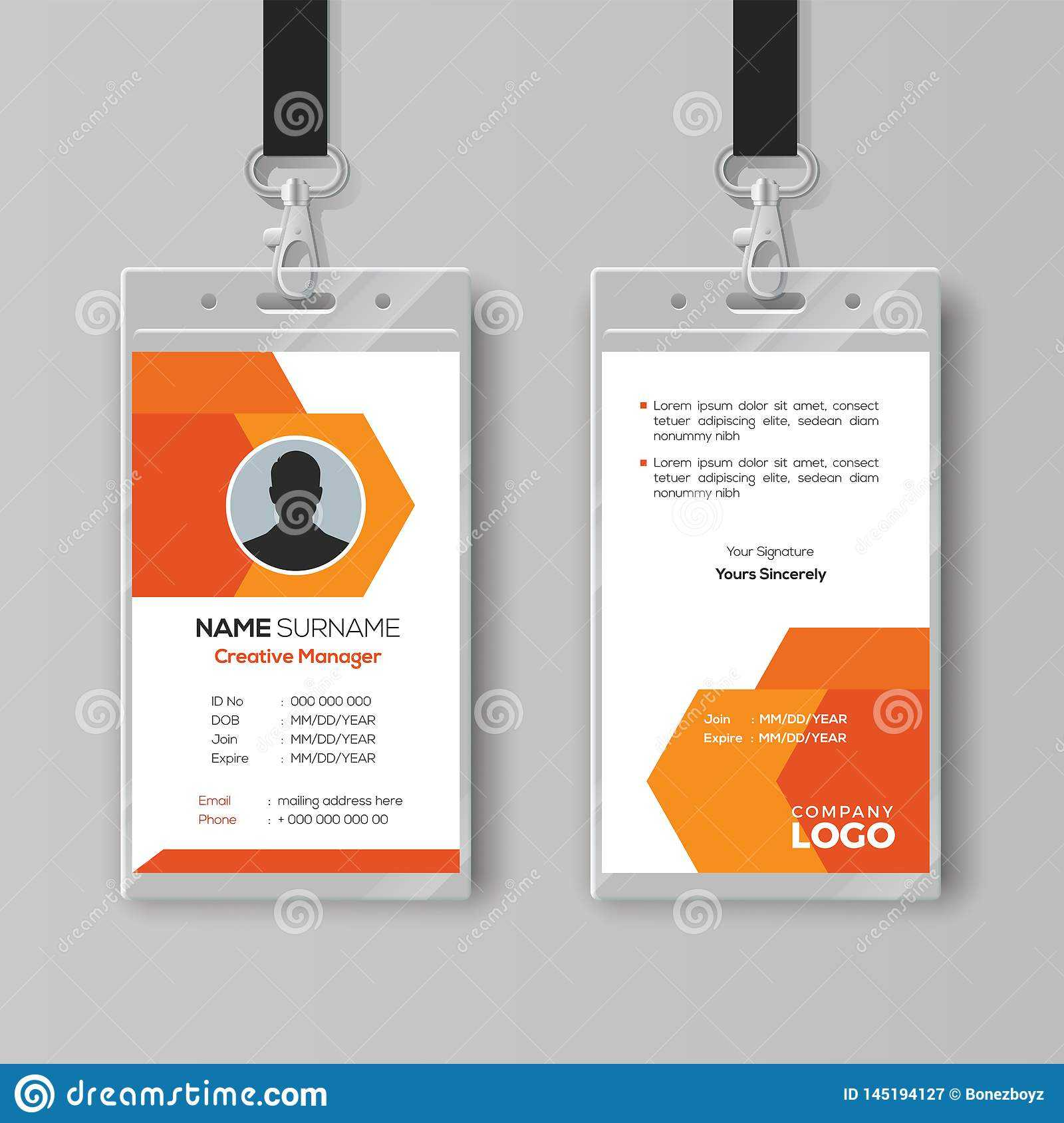 Abstract Orange Id Card Design Template Stock Vector for Company Id Card Design Template