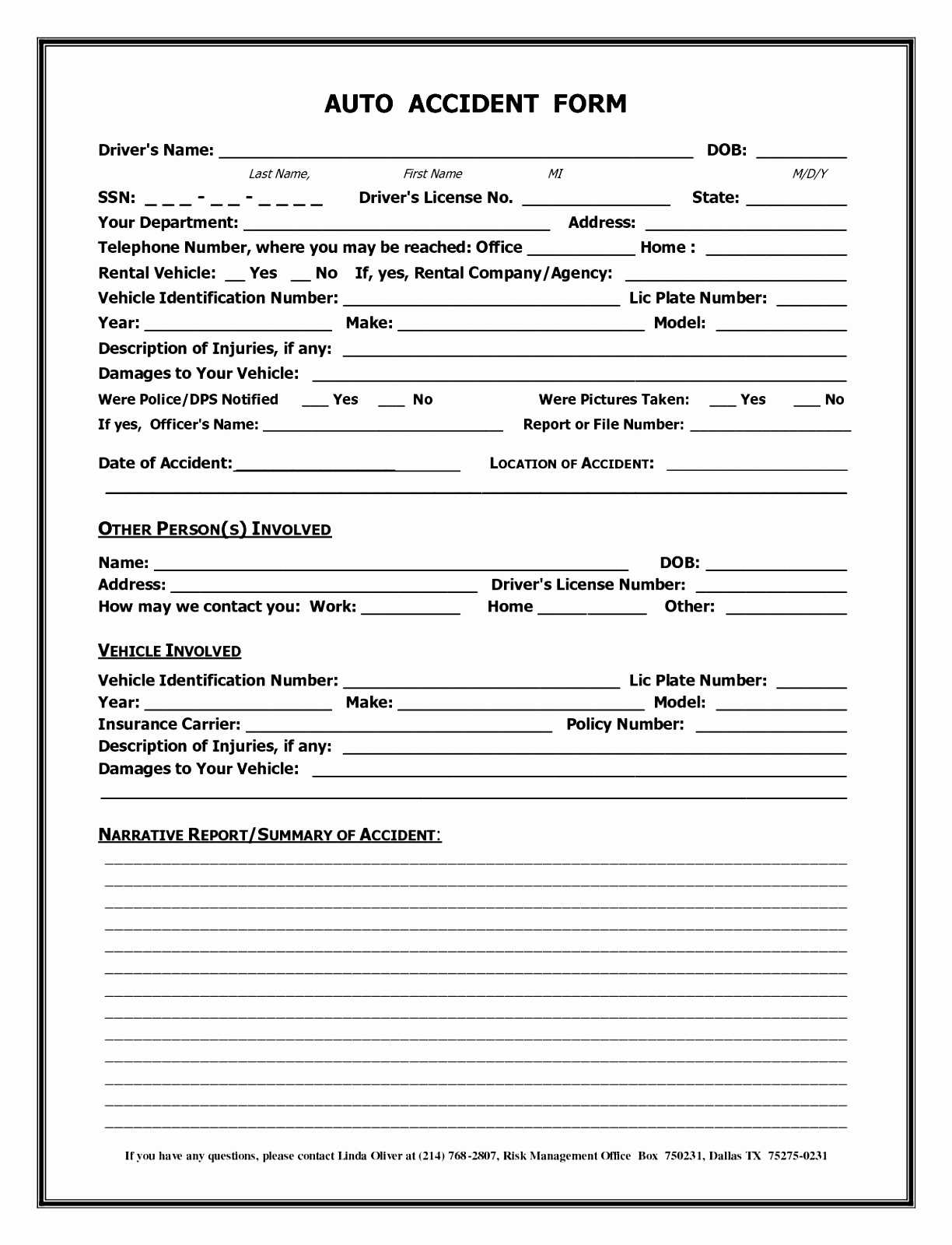 Accident Report Form Template Uk - Atlantaauctionco With Motor Vehicle Accident Report Form Template