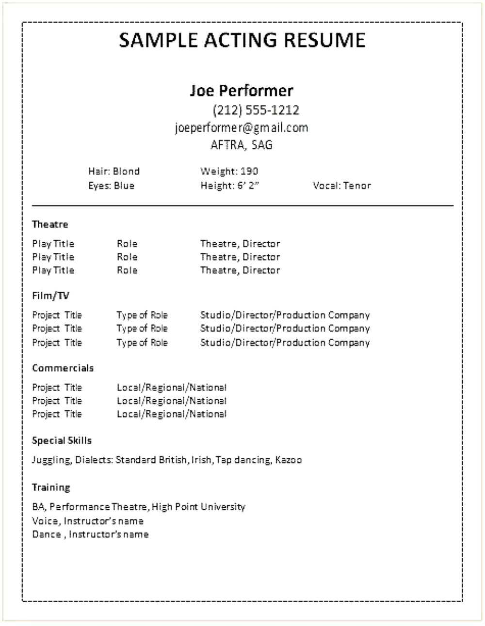 Acting Resume Template For Word Professional Create In Cv with Theatrical Resume Template Word